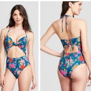 SHADE & SHORE Halter Cut Out One Piece Swimsuit